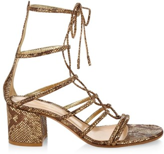 Gianvito Rossi Dallas Snakeskin-Embossed Metallic Leather Lace-Up Sandals