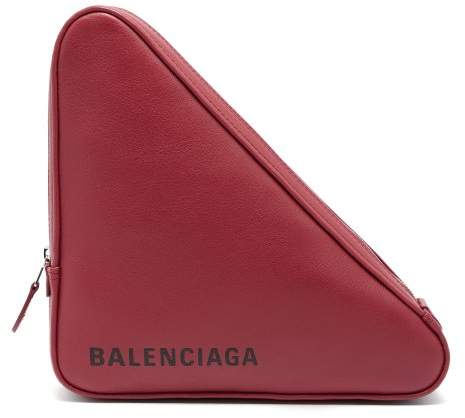 Balenciaga Triangle Leather Clutch - Womens - Burgundy