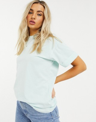 ASOS DESIGN relaxed t-shirt with roll sleeve in washed sage