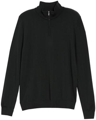 Reiss Black Hall Merino Wool Half Zip Sweater