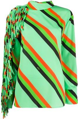 MSGM Diagonal Stripe Fringed Top