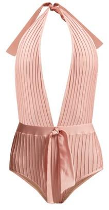 Adriana Degreas Pintucked Halterneck Swimsuit - Womens - Light Pink