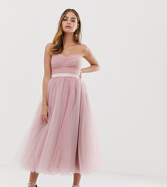 Dolly & Delicious Petite bandeau full prom midaxi dress in pink
