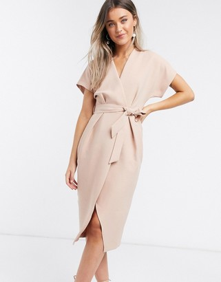 Closet London wrap tie midi dress in blush