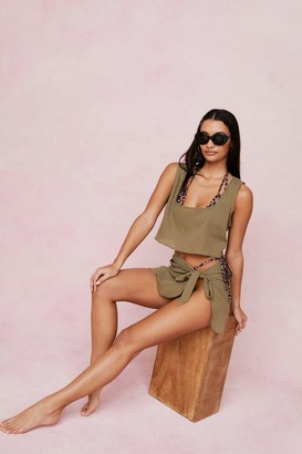 Nasty Gal Womens Chiffon Cover Up Top and Mini Skirt Set - Khaki