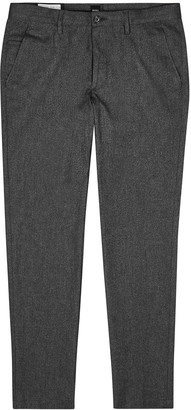 BOSS Kaito grey brushed cotton trousers