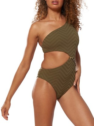 Red Carter Asymmetric Maillot Swimsuit