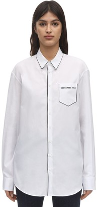DSQUARED2 Piping Print Cotton Poplin Shirt