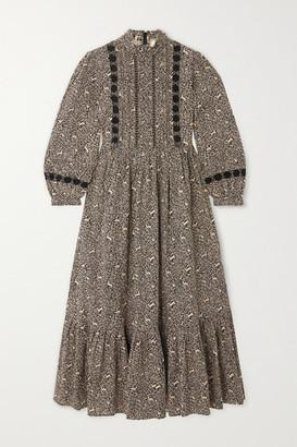 DÔEN Nova Embroidered Printed Cotton Midi Dress - Neutral