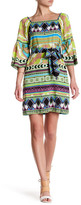 Hale Bob Off-the-Shoulder 3/4 Sleeve Waist Tie Print Dress