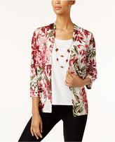 Alfred Dunner Floral-Print Layered Look Top with Removable Necklace