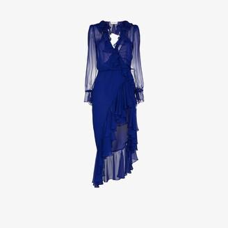 Saint Laurent Semi-Sheer Ruffled Silk Midi Dress