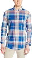 Original Penguin Men's P55 Long-Sleeve Madras Plaid Button-Down Shirt