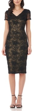 JS Collections Textured V-Neck Sheath Dress