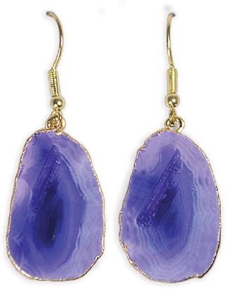 Tiana Jewel Elyssia Purple Agate Gemstone Earrings Silver