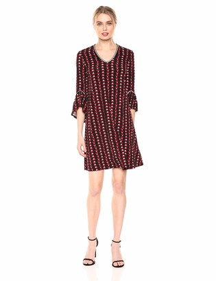 Lark & Ro Women's Matte Jersey Three Quarter Sleeve Open Neck Dress