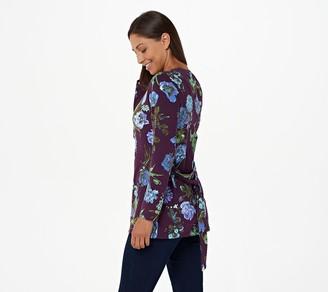 Denim & Co. Petite Printed Jersey Tunic with Tie Waist