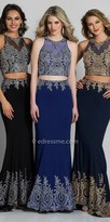Dave and Johnny Two Piece Rhinestone Embroidered Column Evening Dress