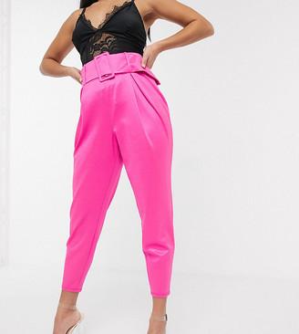 ASOS DESIGN Petite high waist glam belted pant