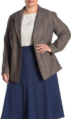 Lafayette 148 New York Heather Plaid Wool Blend Blazer (Plus Size)