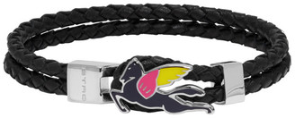 Etro Black Leather Pegaso Bracelet