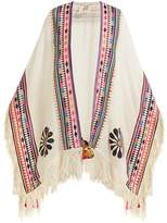 Figue Katrine embroidered wool-blend twill poncho