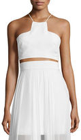 Milly Sleeveless Silk Halter Crop Top