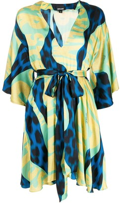 Just Cavalli graphic-print tie-waist satin dress