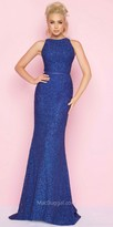 Mac Duggal Lace Cut Out Back Column Prom Dress