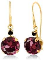 Gem Stone King 2.03 Ct Round Red Rhodolite Garnet Black Diamond 14K Yellow Gold Earrings