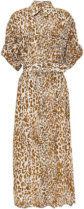 Zimmermann Belted Leopard-print Silk Crepe De Chine Midi Shirt Dress
