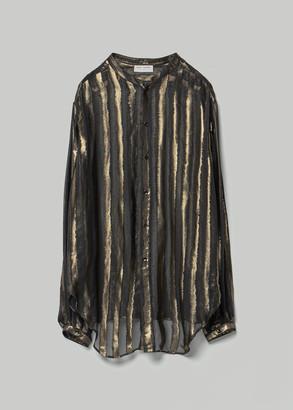 Saint Laurent Men's Collarless Shirt in Black/Gold Size 40