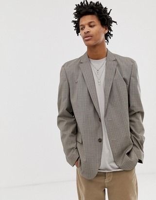 Asos Design DESIGN casual fit slim blazer in tan check