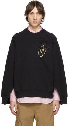 J.W.Anderson Black Oversized Sleeves Placket Sweatshirt