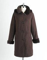 PORTRAIT Faux Shearling Hooded Coat