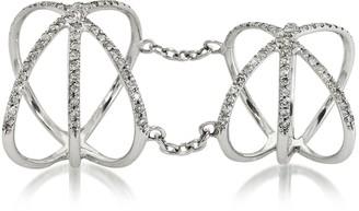 Bernard Delettrez 18K White Gold Criss Cross Articulated Ring w/Diamonds Pave