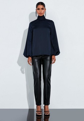 Missguided Navy Satin Open Back Tie Front Blouse