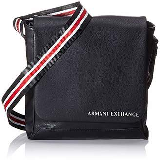 Armani Exchange A|X Men's Leather Crossbody Bag with Striped Strap