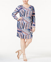NY Collection Plus Size V-Neck Printed Dress
