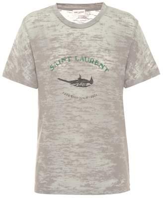 Saint Laurent Printed cotton-blend T-shirt