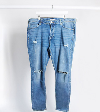 Topman Big & Tall skinny jeans with rips in mid wash blue