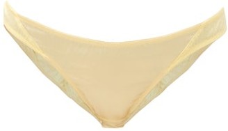 Rossell England - Sheer Angled Low-rise Silk-blend Briefs - Yellow