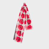 Paul Smith Women's Grey And Red 'Rose' Print Scarf