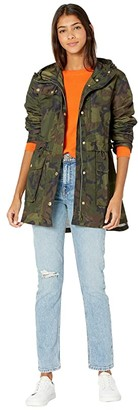 J.Crew Perfect Rain Jacket in Camo (Rain Camo/Deep Green) Women's Coat