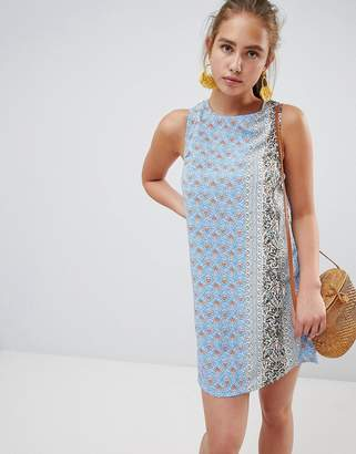 Glamorous printed shift dress with tie back-Multi