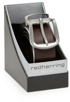 Red Herring Brown Leather Silver Buckle Belt In A Gift Box