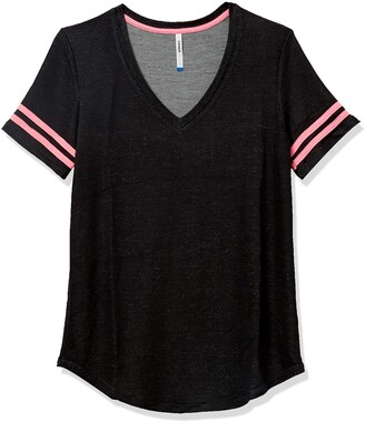 Tresics Women's Juniors Striped Sleeve V-Neck T Shirt