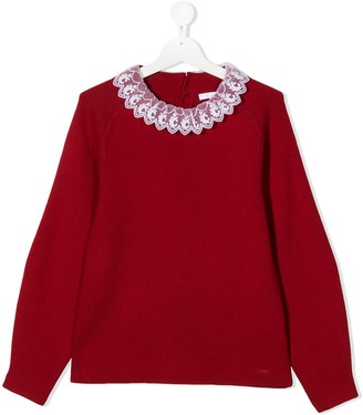 Chloé Kids Knit Sweater With Logo Lace Detail Collar