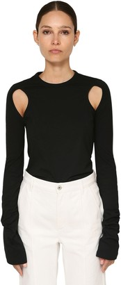 Loewe Cut Out Cotton Jersey Top