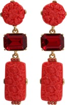 Oscar de la Renta Carved Floral Earrings
